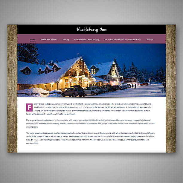 Huckleberry Inn website redesign