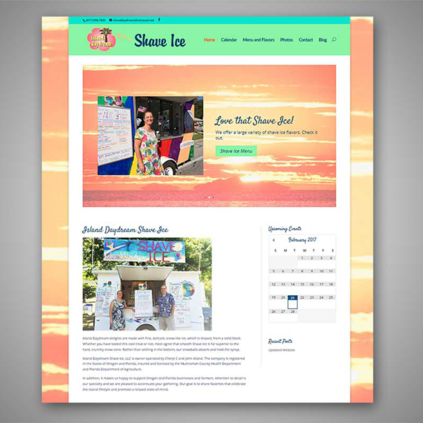 Island Daydream home page post