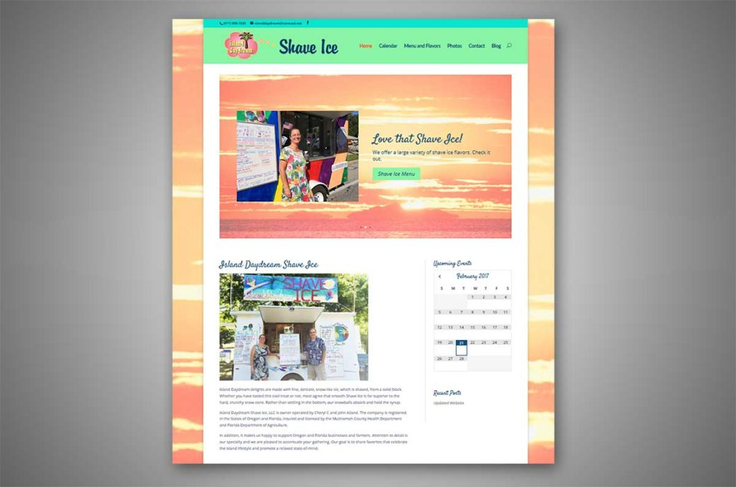 Island Daydream Shave Ice website home page